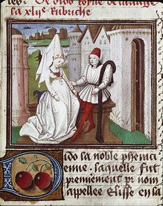 Dido and Aeneas. Miniature from De Mulieribus Claris (On Famous Women), by Giovanni Boccaccio (1313-1375). 15th century. Musee Conde, Chantilly, France .