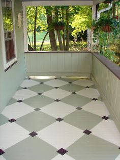 painted flooring DIY tutorial on how to paint diamonds on your porch floor.another idea would be to paint a floor cloth to look like a checkerboard. Painted Porch Floors, Painted Floor Cloths, Porch Paint, Porch Flooring, Painted Rug, Stenciled Floor, Concrete Patio, Concrete Floors, Plywood Floors