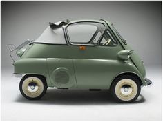 1956 BMW Isetta 300 B/W Cabriolet Tropical What a great car, lovely old green and a cabriolet too! via zoker via www.sparepartscollections.com