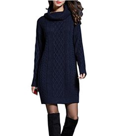 NUTEXROL Womens Long Sleeve Turtleneck Knit Thick Cable Pullover Sweater  Dress Navy M    For 5c86b44c3