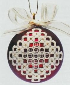 Hardanger for Christmas Baubles - Pattern by Jill Oxton