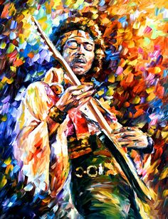 "Portrait Painting — Jimi Hendrix — PALETTE KNIFE Modern Wall Art Oil Painting On Canvas By Leonid Afremov - Size: 30"" x 40"" (75 cm x 100 cm)"