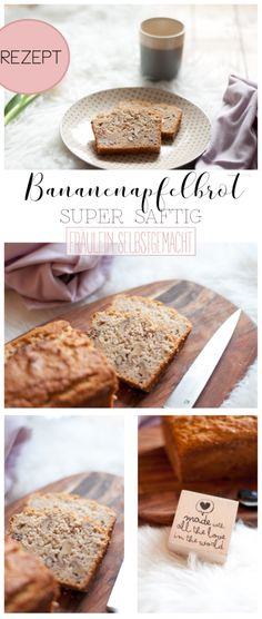 BANANENAPFELBROT Make All, Healthy Lifestyle, Place Card Holders, Sweets, Bread, Super, Babys, Food Ideas, Overripe Bananas