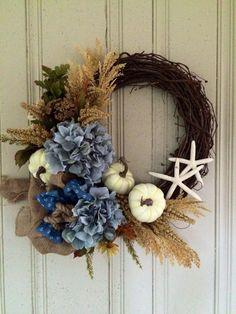 Coastal Fall Wreath, Fall Hydrangea Wreath, Fall Beach Wreath, Fall Pumpkin Wreath, Fall Coastal Decor, Coastal Decor, Front Door Wreath