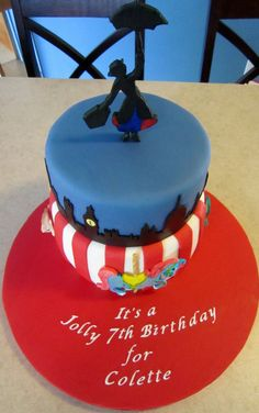 top down view of Mary Poppins cake