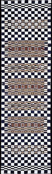 Textile Art Council: Supporting Textile Arts in Northern California  Ceremonial hanging for wedding tent (arkilla jenngo) , early 20th century Mali, Niger delta, Fulani (Peul, Puhl) people Wool, cotton; weft-faced plain weave, slit tapestry weave; woven in strips sewn together (strip-weaving) 502.9 x 142.2 cm (198 x 56.5 in.) Museum purchase, Gift of the Volunteer Council 2004.8  #textiles #textileart  #textile_art  #textileartscouncil #textile_arts_council #tac #deyoung #famsf Tapestry Weaving, Northern California, Textile Art, Textiles, Sewing, Dressmaking, Couture, Stitching, Fabrics