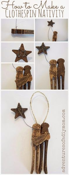 Adventures of a DIY Mom - How to Make a Clothespin Nativity Ornament - 12 Days of CHRISTmas Ornaments Nativity Ornaments, Nativity Crafts, Christmas Ornaments To Make, Christmas Nativity, 12 Days Of Christmas, Christmas Art, Christmas Projects, Holiday Crafts, Christmas Holidays
