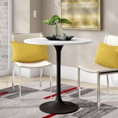 Ebern Designs Atmore Dining Table Base Colour: Black, Top Colour: White, Size: H x W x D Counter Height Dining Table, Square Dining Tables, Pedestal Dining Table, Solid Wood Dining Table, Extendable Dining Table, Dining Table In Kitchen, Dining Room, Transitional Dining Tables, Table And Chairs
