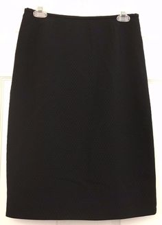 Calvin Klein Career Skirt Black Subtle Raised Pattern A-Line Zip Back Size 4 #CalvinKlein #ALine