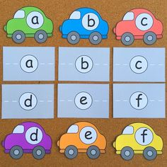 car alphabet match for preschool and kindergarten Preschool Literacy, Preschool Letters, Alphabet Activities, Language Activities, Early Literacy, In Kindergarten, Alphabet Cars, Early Learning Activities, Montessori Activities