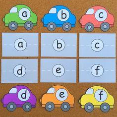 car alphabet match for preschool and kindergarten
