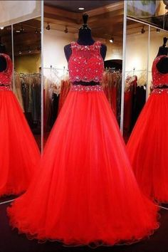 Fashion Red A Line Party Dresses Two Pieces Tulle Lace Beaded Prom Pageant Evening Gowns Custom