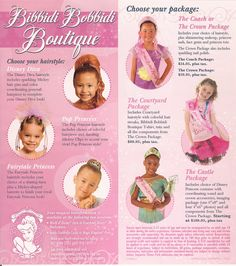Bibbidi Bobbidi Boutique Brochure | There are different packages to choose from: