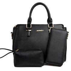 3 Piece Metal Detail Handbag Set - BLACK