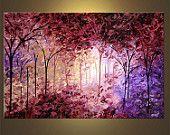 Ähnliche Artikel wie Lavendel Landschaft blühen Baum Malerei Original texturiert Spachtel Acrylbild von Osnat - auf Bestellung auf Etsy