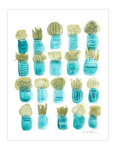 Aquarelle de succulentes art print unique cactus par verysarie