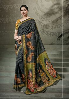 lack Tussar silk saree with turmeric yellow Tussar silk blouse embellished with digital print. Saree with Round Neck, Half Sleeve. It comes with unstitch blouse, it can be stitched to 32 to 58 sizes. Tussar Silk Saree, Art Silk Sarees, Traditional Sarees, Traditional Looks, Ethnic Sarees, Trendy Sarees, Casual Saree, Designer Sarees Online, Printed Sarees