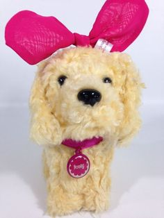 AMERICAN GIRL Doll My AG HONEY PET DOG Golden Retriever Puppy Red Bow  #AmericanGirl #DollAccessories
