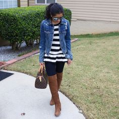 Peplum top with over the knee boots! #fallstyle   Instagram: my.southern.style