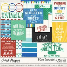 50M Freestyle - a swim team inspired digital/printable journal card set by Traci Reed
