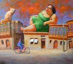 استرخاء فوق السطح 140x120 cm Relaxing on the roof 140x120 cm Acrylic on canvas By: Mahmoud Abbod 2012