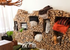 You want to build a outdoor firewood rack? Here is a some firewood storage and creative firewood rack ideas for outdoors. Lots of great building tutorials and DIY-friendly inspirations! Wall Storage Systems, Crate Storage, Diy Storage, Storage Ideas, Storage Solutions, Decorative Storage, Storage Shelving, Shelving Units, Shelving Ideas