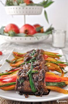 Steak Rolls, Balsamic Glaze, Japchae, Beef, Ethnic Recipes, Food, Meat, Essen, Meals