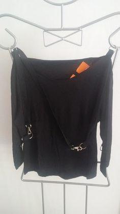 6cbfe06d91 Camiseta en color negro manga 3 4 - Chicfy   shirt in black with 3
