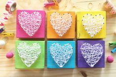 Rainbow Mini string art heart signs...each heart block measures a cute 3.5 x 3.5...this listing is for a pack of SIX mini hearts. These are just so fun & go with the colors in my Create board. Great for gallery walls, nursery decor, kid room decor, gifts, shelf decor, ect... This
