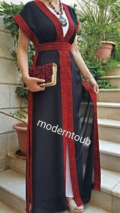 palestinian thobe chiffon abaya dress / embroidered dress / best gift for her/Mo. palestinian thobe chiffon abaya dress / embroidered dress / best gift for her/Modern Thobe Palestini Abaya Fashion, Muslim Fashion, Kimono Fashion, Modest Fashion, Fashion Outfits, Women's Fashion, 1950s Fashion, Fashion Trends, African Wear