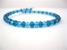 Light and dark blue crystal beaded memory wire by LaylasTrinkets, $9.00
