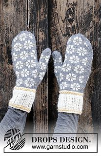 Winter daisies / DROPS - free knitting patterns by DROPS design Free knitting instructions History of Knitting String spinning, weaving and stitching careers such as BC. Knitting Charts, Lace Knitting, Knitting Socks, Knitting Patterns Free, Knit Crochet, Mittens Pattern, Knit Mittens, Mitten Gloves, Drops Design
