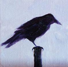 Crow Raven Miniature Bird Painting Original by smallimpressions, $35.00