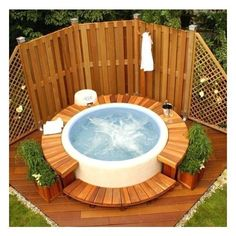 fun to relax in the outdoor jacuzzi! - New IdeasBuild Fence Fun Jacuzzi Outdoor pl Legend × × Jacuzzi Outdoor Hot Tubs, Hot Tub Backyard, Hot Tub Garden, Backyard Pools, Pool Decks, Pool Landscaping, Small Garden Hot Tub Ideas, Garden Pond, Hot Tub Privacy