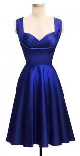 Honey Dress   Cobalt Satin   50's Inspired Bridal Collection   Trashy Diva