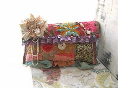 The Tropics Clutch Bag Purse Antique Embroidery by AllThingsPretty