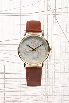 globe face leather watch from urban outfitters