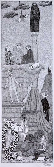 Drawing by Edward Gorey. Edward St. John Gorey (Feb 22, 1925–April 15, 2000), American writer and artist noted for his illustrated books. His characteristic pen-and-ink drawings often depict vaguely unsettling narrative scenes in Victorian and Edwardian settings. Gorey's maternal great-grandmother, Helen St. John Garvey, was a popular nineteenth-century greeting card writer and artist, from whom he claimed to have inherited his talents.