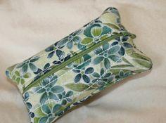 Blue and Green Floral Print Zippered Kleenex Pocket Pack Tissue Holder $6