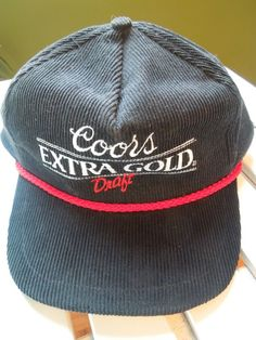Coors Extra Gold Draft Trucker Hat Snapback Vintage Corduroy Black   UniversalforCoors  Trucker Corduroy cd548a84cad2