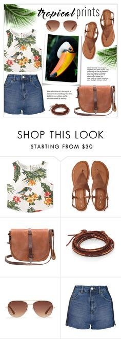 """""""Tropical Prints"""" by ms-mandarinka ❤ liked on Polyvore featuring MANGO, Aéropostale, Will Leather Goods, Chan Luu, Stella & Dot and Topshop"""
