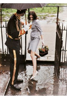 A Cavalryman is first and foremost a gentleman.      Love how cute she dresses, even on a rainy day.    *photographed by Tim Walker for Vogue.  2010.