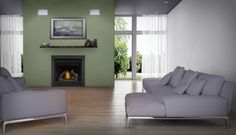 The Napoleon Ascent 36 Gas Fireplace adds ambiance to any room and is perfect for builders and homeowners . With realistic flames and hand painted logs. Face Design, Gas Fireplace, Be Perfect, Hearth, Contemporary Design, Clean Face, Shallow, Napoleon, Room