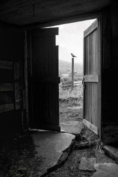 Black and White picture of an old barn door viewed from inside looking out. In the distance is the Catskill mountains of NYS. Barn door by Gary Heller Photography #b&w #oldbarn #doors #rustic #mysterious