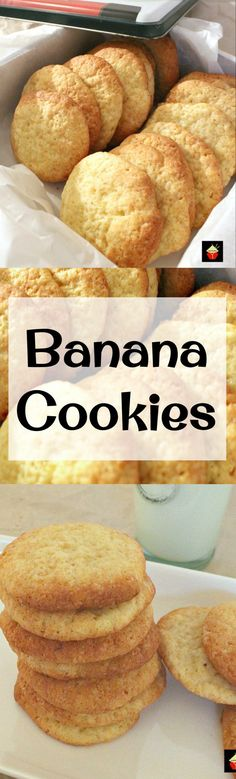 Banana cookies - Banana Drop Cookies Theses are a light fluffy cookie and great for using up those overripe bananas! Easy recipe too! Lovefoodies com Drop Cookies, Yummy Cookies, Healthy Banana Cookies, Banana Recipes Easy Healthy, Easy Banana Desserts, Healthy Cookies For Kids, Peanut Butter Banana Cookies, Cookies Light, Apple Pie Cookies