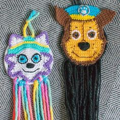 The finished Paw Patrol dream catchers that I made for the kids... I just freestyle crocheted these working from a photo so Everest looks a tiny bit possessed but Chase worked out pretty well. The kids loved them which is the most important thing!