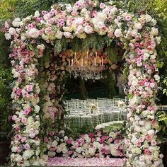 Amazing, over-the-top floral altar - use it to inspire a floral filled ceremony for your bride ~ Nisie's Enchanted Florist Wedding Stage, On Your Wedding Day, Wedding Ceremony, Dream Wedding, Wedding Arches, Wedding Chuppah, Glamorous Wedding, Wedding Bells, Reception