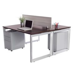 Workstation for 2! This back to back set of desks is space-saving and functional. Modern, flat silver legs and rich brown teaktop. Includes 2- mobile file pede