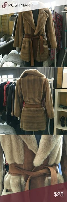 Vintage faux fur coat Re-Poshing, small on me.Cute little coat, pretty nut colour. Has suede belt. Needs some cleaning , has storage smell, otherwise in good condition. Size is not marked , but fits like XS. Pictures are from previous seller. Asking 25$ , I paid more. Jackets & Coats