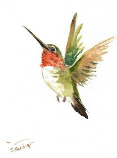 Hummingbird original watercolor painting flying by ORIGINALONLY